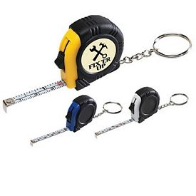 Customized Rubber Tape Measure Key Tag With Laminated Label