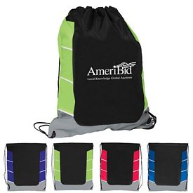 Promotional Triple Color Block Drawstring Backpack