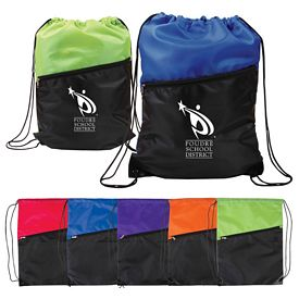 Custom Two Tone Zipper Pocket Poly Drawstring Backpack