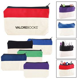 Promotional Two Tone Zip Cotton Valuables School Supplies Pouch