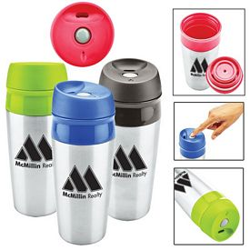 Customized 13 Oz Two Tone Stainless Tumbler With Push Locking Lid