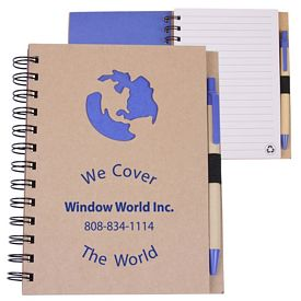 Customized Globe Recycled Die Cut Notebook