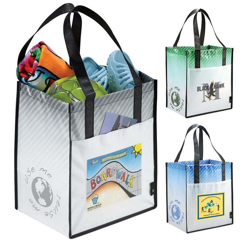 Promotional Laminated Non-Woven Striped Big Grocery Tote Bag ... 3497b9008ac4f