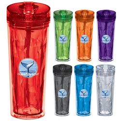 Promotional Hot Cold 18 Oz Flip N Sip Geometric Tumbler