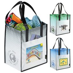 Customized Laminated Non-Woven Striped Big Grocery Tote Bag