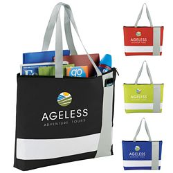 Promotional Cross Block Zippered Business Tote Bag