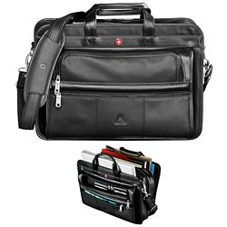 Promotional Wenger Leather Double Compartment Attache
