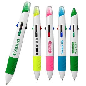 Custom Liquimark Click N Glo 5 In 1 Fluorescent Highlighter 4 Color Pen Combo