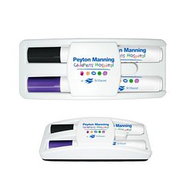 Custom Liquimark Dry Erase Gear Marker Eraser Set Black-Purple