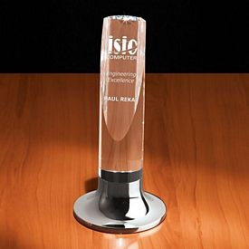 Promotional Crystal Aire I Diagonal Cut Cylinder Award