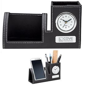 Customized Essentials Ec3401 Clock Phone Holder Pen Cup