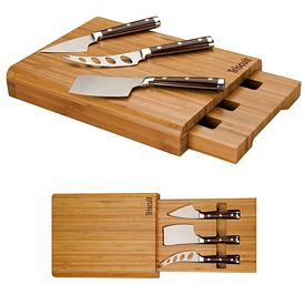 Promotional Essentials Bamboo 4 Piece Cheese Set