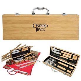 Customized Giftcor Gr2006 5 Piece Bamboo Bbq Set