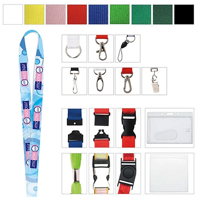Promotional 3/8 Polyester 4 Color Lanyard