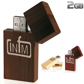 Promotional 2 GB Bamboo Rectangle USB 2.0 Flash Drive