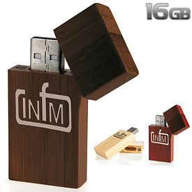 Promotional 16 GB Bamboo Rectangle USB 2.0 Flash Drive