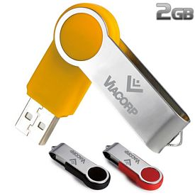 Promotional 2 GB Round Folding USB 2.0 Flash Drive