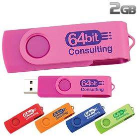 Promotional 2 GB Two Tone Folding USB 2.0 Flash Drive