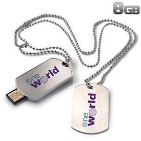 Promotional 8 GB Dog Tag USB 2.0 Flash Drive