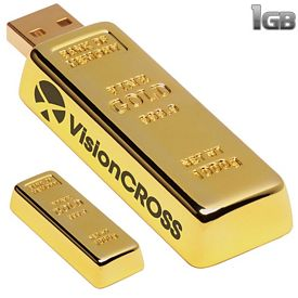 Promotional 1 GB Golden Nugget USB 2.0 Flash Drive