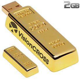 Promotional 2 GB Golden Nugget USB 2.0 Flash Drive