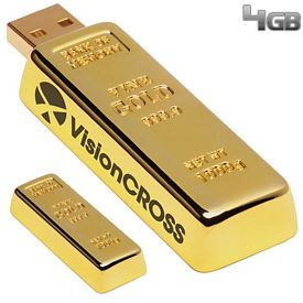 Promotional 4 GB Golden Nugget USB 2.0 Flash Drive