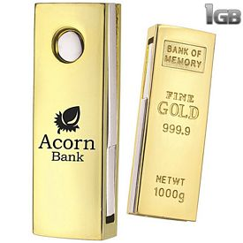Promotional 1 GB Mini Golden Nugget USB 2.0 Flash Drive