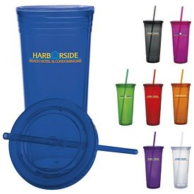 Promotional 24 oz. Double Wall Acrylic Strawed Tumbler