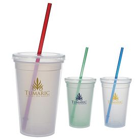 Promotional 18 oz. Double Wall Mood Straw Tumbler