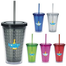 Promotional 18 oz. Double Wall Diamond Pattern Straw Tumbler