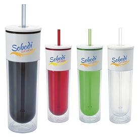 Promotional 17 oz. White Top Tall Straw Tumbler
