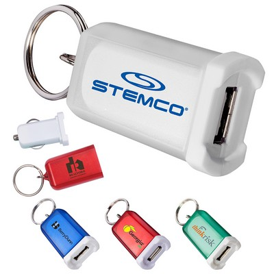 Custom Mini Car Charger With Key Ring