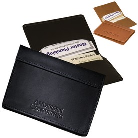 Promotional Leeman Fire Island Business Card Case Sueded Full-Grain Leather