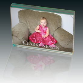 Customized Leeman Atrium Glass Large Desk Photo Frame