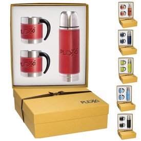 Customized Leeman Tuscany Thermal Bottle Coffee Cups Gift Set