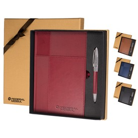 Customized Leeman Duo-Textured Tuscany Journal Pen Gift Set