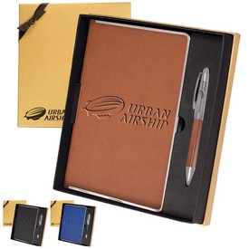 Promotional Leeman Naples Metallic-Trim Journal Pen Gift Set