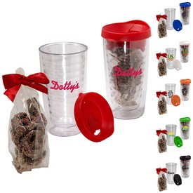 Promotional Avalon Clear Tumbler Set With Chocolate Covered Pretzels