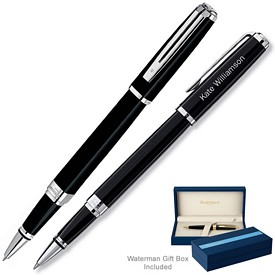 Promotional Waterman Exception Slim Black St Roller Ball Pen