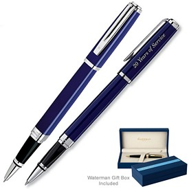 Custom Waterman Exception Slim Blue St Roller Ball Pen