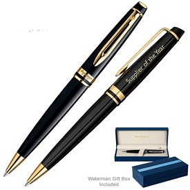 Promotional Waterman Expert Black Gt Ballpoint Pen
