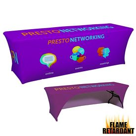 Customized 8 Ft UltraFit Curve Table Cover Dye-Sub Full Bleed