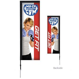 Promotional 7 Ft Rectangle Sail Sign Kit Double-Sided w/Spike Base