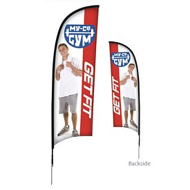 Promotional 9 Ft Razor Sail Sign Kit Double-Sided w/Spike Base