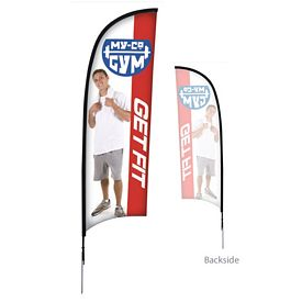 Promotional 9 Ft Razor Sail Sign Kit Single-Sided w/Spike Base