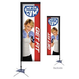 Customized 7 Ft Rectangle Sail Sign Kit Double-Sided w/Scissor Base