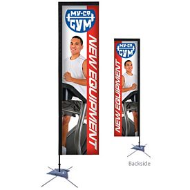 Promotional 10 Ft Rectangle Sail Sign Kit Double-Sided w/Scissor Base