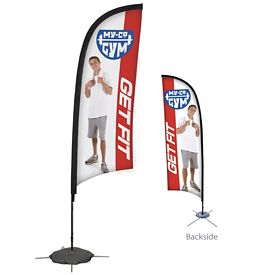 Promotional 9 Ft Razor Sail Sign Kit Double-Sided w/Scissor Base