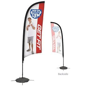 Customized 9 Ft Razor Sail Sign Kit Single-Sided w/Scissor Base