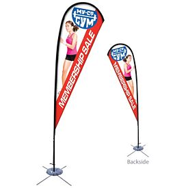 Customized 11.5 Ft Tear Drop Sail Sign Kit Double-Sided w/Scissor Base